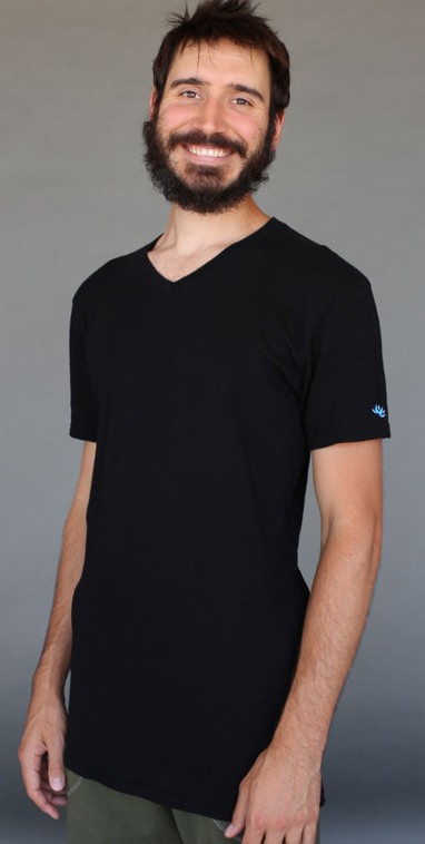 Men's Solid V-Neck Yoga Cut Tee- Black by Blue Lotus Yogawear