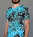Men's Granite Tie Dye V-Neck Yoga Cut Tee-Olive/Turquoise by Blue Lotus Yogawear