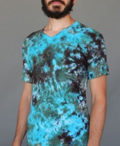 Men's Granite Tie Dye V-Neck Yoga Cut Tee- Olive/Turquoise by Blue Lotus Yogawear