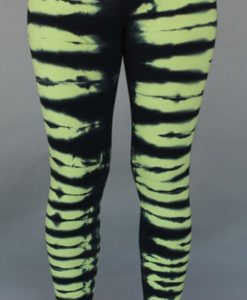 Organic Cotton Yoga Legging - Lime/Black Bengal Tiger Stripe