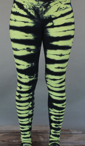 Organic Cotton Yoga Legging - Lime/Black Bengal Tiger Stripe by Blue Lotus Yogawear