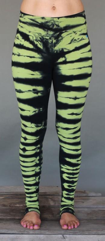 Organic Cotton Bengal Tiger Tie Dye Ankle Length Yoga Legging- Lime Black by Blue Lotus Yogawear