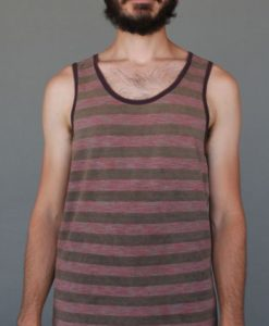 Men's Printed Yoga Tank - Coral and Sand Stripe