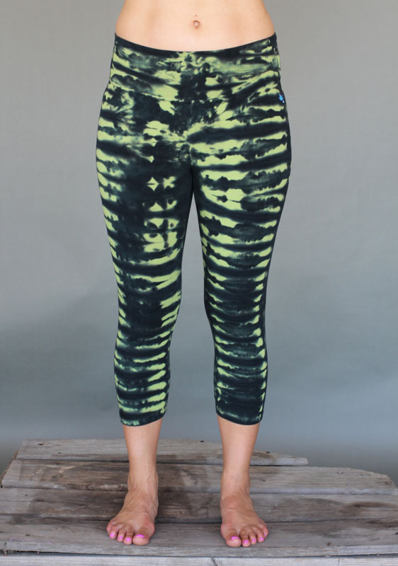 Organic Cotton Crop Yoga Legging - Lime/Black Tie-dye by Blue Lotus Yogawear