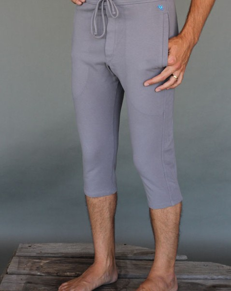 Men's Organic Cotton 4-way Stretch Slate Grey Capri Length Yoga Pant by Blue Lotus Yogawear.  Pre-Shrunk, Easy Care, Made in USA.