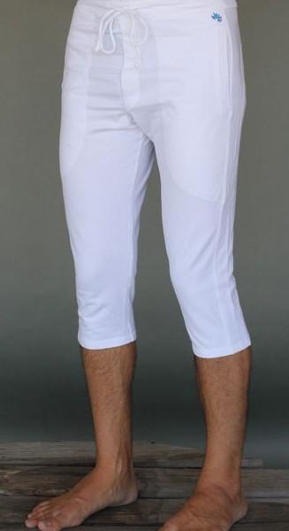 Men's Organic Cotton 4-way Stretch Kundalini White Capri Length Yoga Pant by Blue Lotus Yogawear