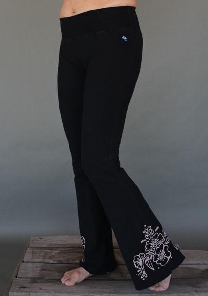Organic Cotton Hand-painted Mehndi Design Yoga Pant with Ruffle Hem by Blue Lotus Yogawear
