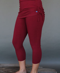 Organic Cotton Yoga Skirted Crop Legging - Wine by Blue Lotus Yogawear
