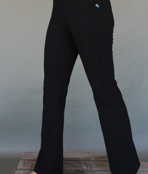 Women's  Organic Cotton 4-way Stretch Black Flared Leg Yoga Pant by Blue Lotus Yogawear.  Pre-Shrunk, Easy Care, Made in USA.