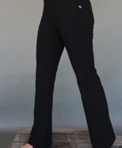 Women's Organic Cotton 4-way Stretch Black Flared Leg Yoga Pant by Blue Lotus Yogawear. Pre-Shrunk, Easy Care, Made in USA. Yoga Specific Fit.