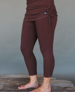 Organic Cotton Yoga Skirted Crop Legging - Chocolate