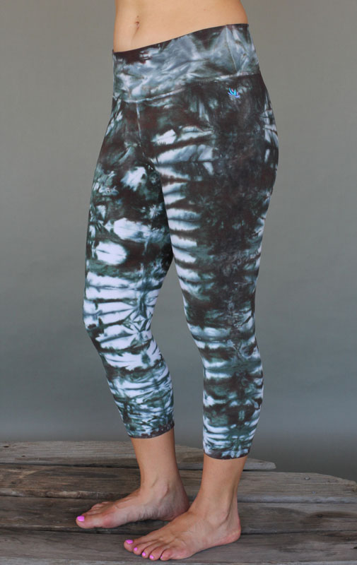 Organic Cotton Crop Yoga Legging - Brown/Sage Tie-dye by Blue Lotus Yogawear