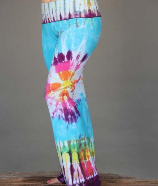Organic Cotton Hippie Tie Dye Foldover Waist Yoga Pant by Blue Lotus Yogawear