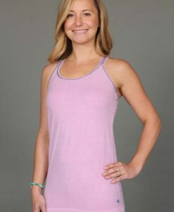 Organic Cotton Double Cross Back Cami with Built-in Bra- Pink by Blue Lotus Yogawear