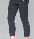 Women's Organic Cotton Yoga Skirted Crop Legging - Black by Blue Lotus Yogawear. 4 -Way Stretch, Pre-Shrunk, Easy Care, Made in USA.