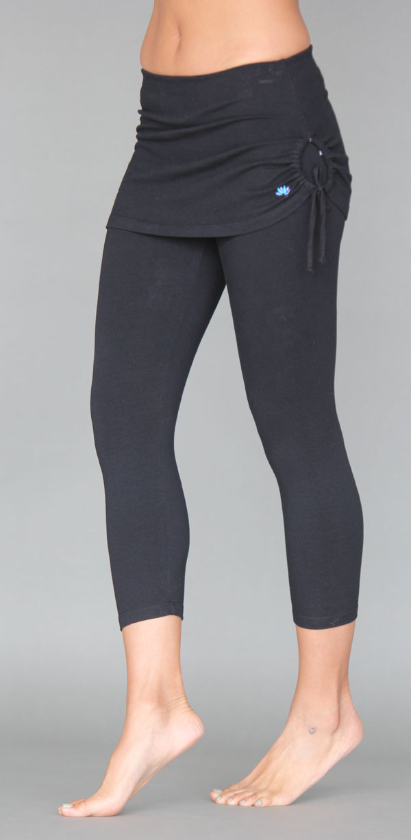 Organic Cotton Yoga Skirted Crop Legging - Black by Blue Lotus Yogawear