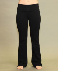 Women's Organic Cotton Fold-over Waistband Yoga Pant - Black . 4- way stretch, Pre-Shrunk, Easy Care, Made in USA.