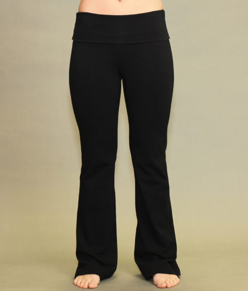 Women's Organic Cotton Fold-over Waistband Yoga Pant - Black .  Pre-Shrunk, Easy Care, Made in USA.