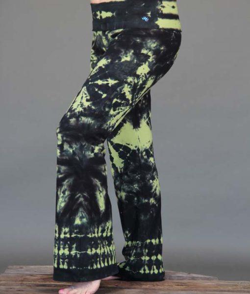 Organic Cotton Tie Dye Foldover Waist Yoga Pant - Lime/Black by Blue Lotus Yogawear