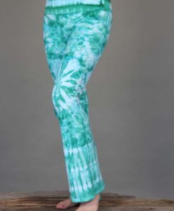 Organic Cotton Foldover Waist Yoga Pant - Aqua Tie-dye by Blue Lotus Yogawear. 4-way Stretch, Pre-shrunk, Easy Care, Made in USA
