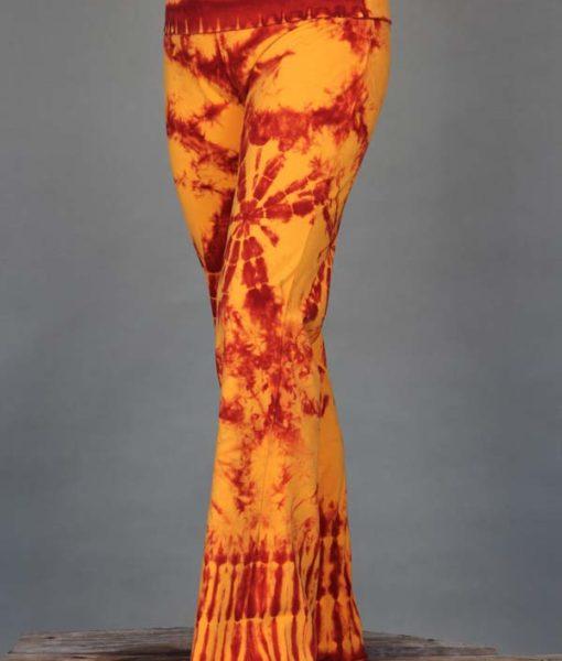 Organic Cotton Foldover Waist Yoga Pant - Inner Fire Tie Dye by Blue Lotus Yogawear