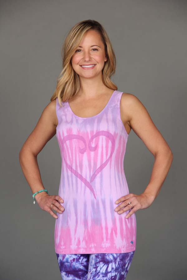 Heart Motif Yoga Tank Top - Pink Tie Dye by Blue Lotus Yogawear