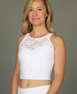 Organic Cotton Lace Yoke Tankini - Kundalini White by Blue Lotus Yogawear