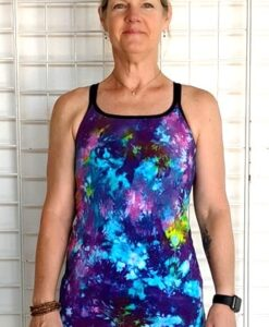 Organic Open Caged-Back Yoga Top - Multicolor Tie Dye by Blue Lotus Yogawear