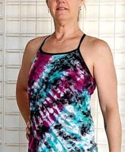 Multi Color Tie-dye Y- Back Cami with Inside Bra by Blue Lotus Yogawear
