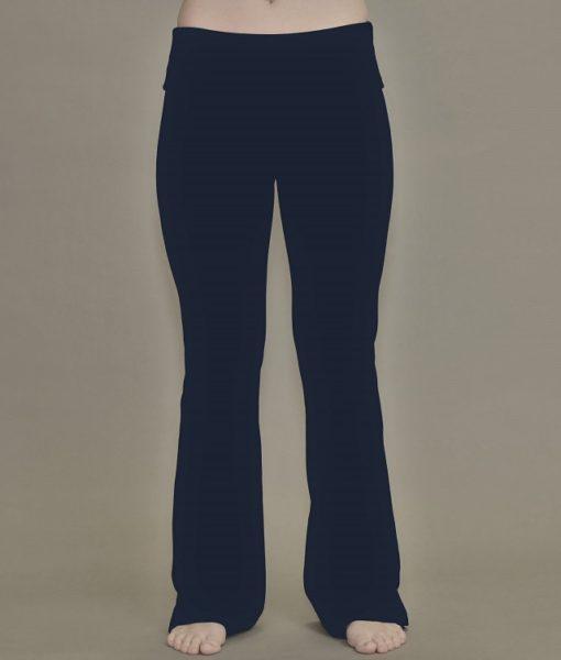 Women's  Organic Cotton Fold-over Waistband Yoga Pant - Indigo.  4-way Stretch, Flared Leg, by Blue Lotus Yogawear.  Pre-Shrunk, Easy Care, Made in USA.