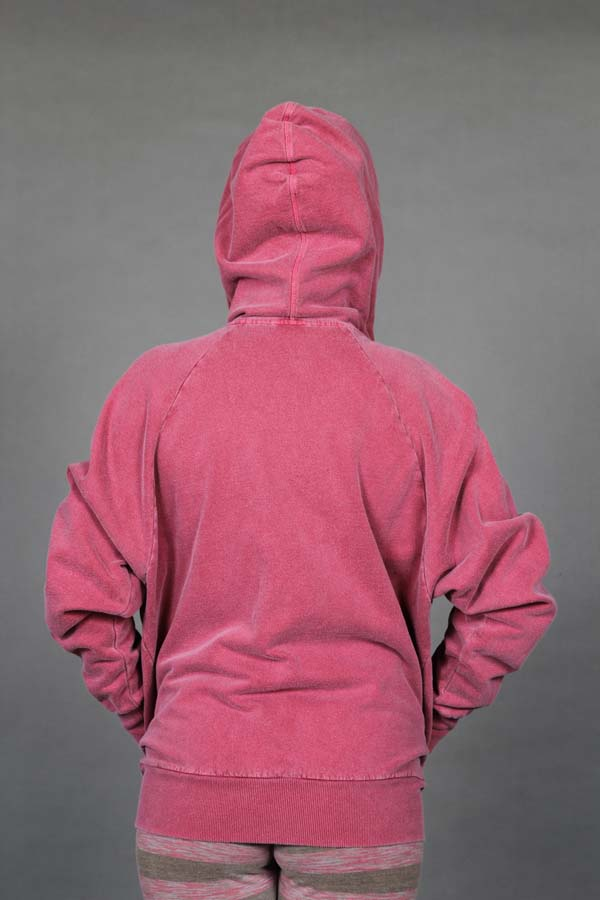 Zip Front Fleece Hoodie - Distressed Cranberry Back by Blue Lotus Yogawear