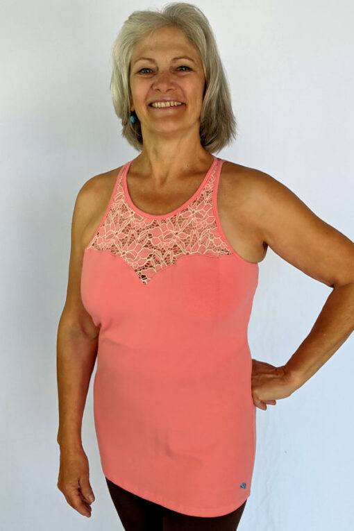 Organic Cotton Lace Yoke Cami Built in Bra - Coral