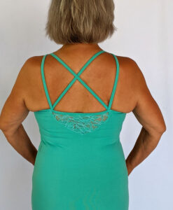 Organic Cotton Lace Yoke Cami Built in Bra - Aqua Bac by Blue Lotus Yogawear