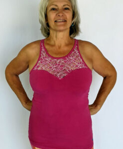 Organic Cotton Lace Yoke Cami with Built in Bra - Magenta by Blue Lotus Yogawear