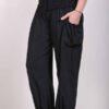Organic Cotton Elastic Shirred Yoke Harem Pant- Black Jersey Knit