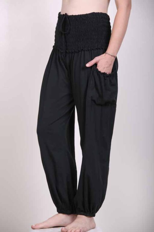 Organic Cotton Elastic Shirred Yoke Harem Pant- Black Jersey Knit by Blue Lotus Yogawear