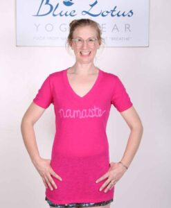 Namaste Slub Cotton V-Neck Yoga Tee by Blue Lotus Yogawear