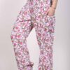 Printed Cotton Elastic Shirred Yoke Harem Pant- Pink Floral by Blue Lotus Yogawear