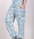 Printed Cotton Elastic Shirred Yoke Harem Pant- Blue Floral by Blue Lotus Yogawear