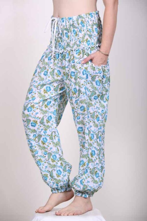 Printed Cotton Elastic Shirred Yoke Harem Pant- Blue Floral by Blue Lotus Yogawear