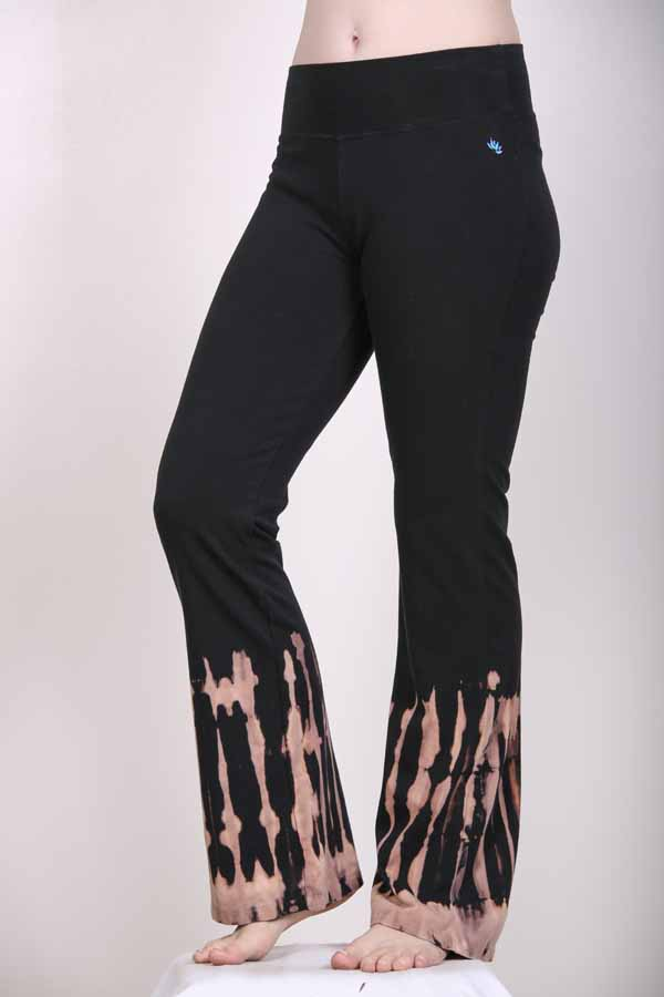 Organic Cotton Bleach Tie Dye Flare Leg Yoga Pant - Black by Blue Lotus Yogawear