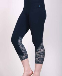 Organic Cotton Lace Calf Capri Yoga Legging- Navy by Blue Lotus Yogawear