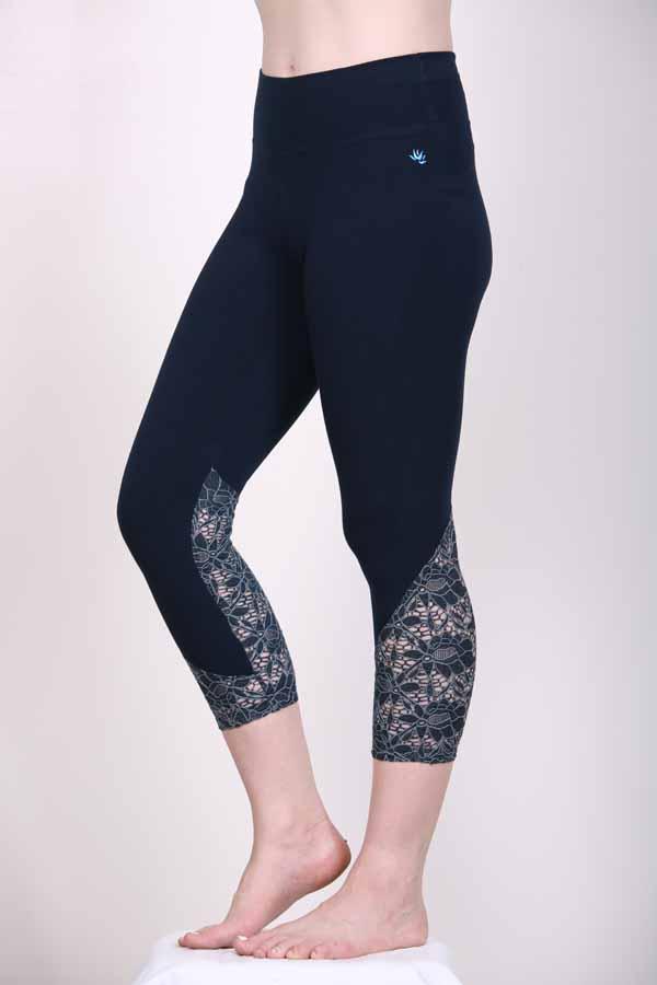 Organic Cotton Lace Calf Capri Yoga Legging- Navy by Blue Lotus Yogawear