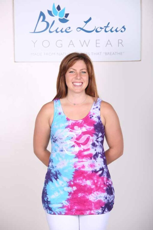Om Symbol Yoga Tank Top - Turq-Purple Tie Dye by Blue Lotus Yogawear