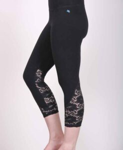 Organic Cotton Lace Calf Capri Yoga Legging- Black by Blue Lotus Yogawear