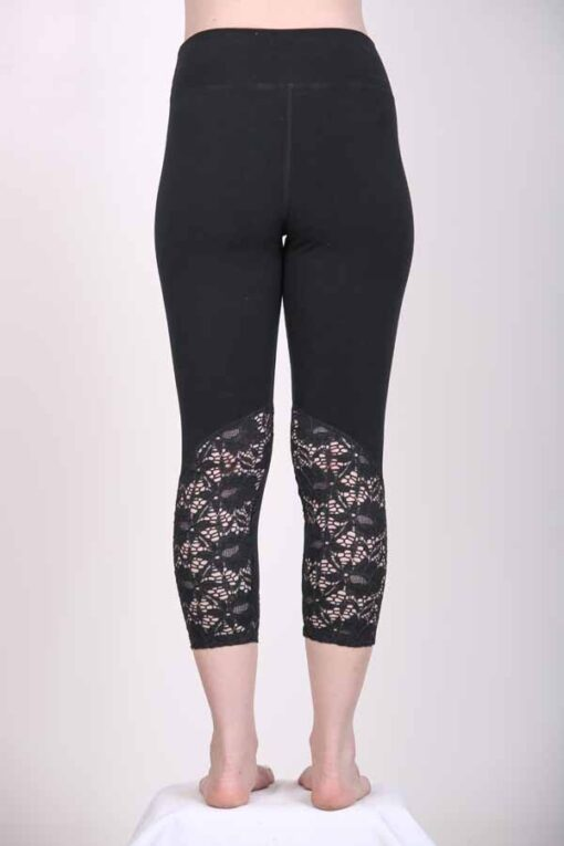 Organic Cotton Lace Calf Capri Yoga Legging- Black Back View