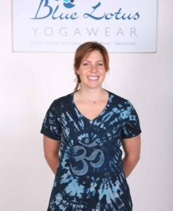 100% Cotton OM Spiral Tie Dye Yoga Tee- Indigo by Blue Lotus Yogawear