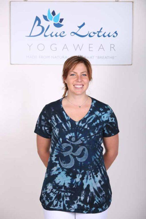 100% Cotton OM Spiral Tie Dye Yoga Tee- Indigo by Blue Lotus Yogawear