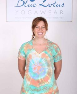 100% Cotton Spiral Tie Dye OM Yoga Tee- Green-Orange