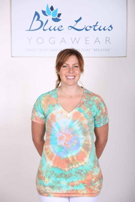 100% Cotton Spiral Tie Dye OM Yoga Tee- Jade-Coral by Blue Lotus Yogawear